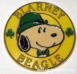 Snoopy wearing green hat 'Blarney Beagle' Button