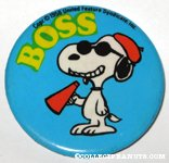 Snoopy holding megaphone 'Boss' Button