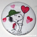 Snoopy Beaglescout holding heart flag Button