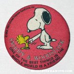 Snoopy & Woodstock shaking Hands Button