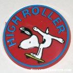 Snoopy on skateboard 'High Roller' Button