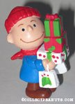 Charlie Brown holding stack of Christmas gifts PVC Figurine