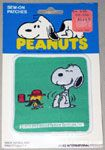 Snoopy laughing at Woodstock in bowler hat and pipe Patch