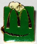 Snoopy Laying on giant M logo Green McDonald's Pin