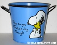 Snoopy hugging Woodstock 'Hugs to you the whole day through' Bucket Flower Pot