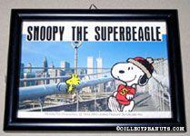 Snoopy & Woodstock running on photograph of bridge & skyline Framed Print