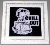 Joe Cool sitting on ice cube 'Chill Out' Glass Picture