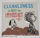 Snoopy and Pigpen 'Cleanliness is next to impossible' ceramic tile plaque