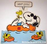 Snoopy Joe Cool & Woodstock floating in pool 'Keep Cool' Poster