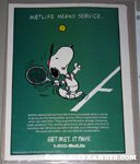 Snoopy serving tennis ball Metlife Magazine Ad