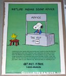 Snoopy advice booth with Woodstock Metlife Magazine Ad