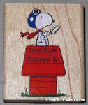 Flying Ace on doghouse reading book 'This Book Belongs to' Rubber Stamp