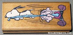 Snoopy stealing Linus' Blanket Rubber Stamp