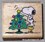 Snoopy & Woodstock decorating Christmas tree Rubber Stamp