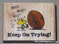 Woodstock kicking footbal 'Keep Trying' Rubber Stamp