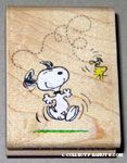 Snoopy dancing and Woodstock flying Rubber Stamp'