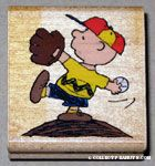 Charlie Brown pitching baseball Rubber Stamp