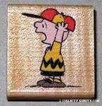 Charlie Brown yelling wearing baseball hat Rubber Stamp