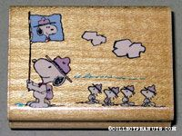 Snoopy and Beaglescouts raising a flag Rubber Stamp