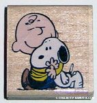 Charlie Brown hugging Snoopy Rubber Stamp