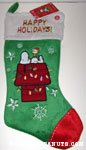Snoopy and Woodstock on Doghouse Christmas Stocking