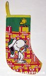 Snoopy handing Woodstock candy cane Christmas Stocking