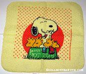 Snoopy & Woodstocks in dog dish 'Hot Tub' Washcloth