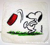 Snoopy kicking dog dish Washcloth