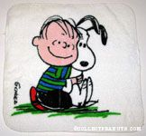 Linus hugging Snoopy Washcloth