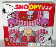 Snoopy & Woodstock Red & Pink Gingham Tea Set & Toaster