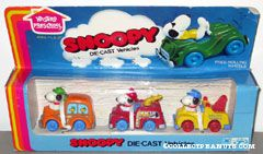Snoopy Die-Cast Vehicle Set - Camping Van, Fire Truck, Tow Truck