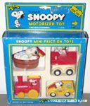 Snoopy Mini Friction Toys Set - Flying Ace Doghouse, Bath Tub, Train Engine, Taxi Cab