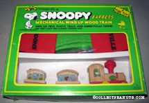 Snoopy Express Mechanical Wind-up Wood Train