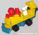 Snoopy driving Yellow Train Engine