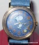 Snoopy playing tennis with denim band & face Watch