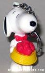 Snoopy holding dog dish of hearts PVC Keychain