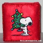 Snoopy with Christmas tree embroidered cloth covered box