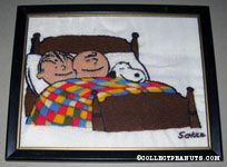 Linus, Snoopy & Charlie Brown sleeping in bed Crewel Stitchery Picture