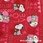 Snoopy & Woodstock with hearts and Valentine's greetings Fabric