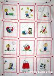 Peanuts Gang scenes in squares Fabric