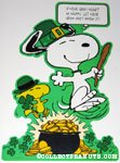 Snoopy and Woodstock dancing around pot of gold St. Patrick's day Press-out