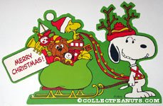 Snoopy pulling sleigh driven by Woodstock Christmas Press-out