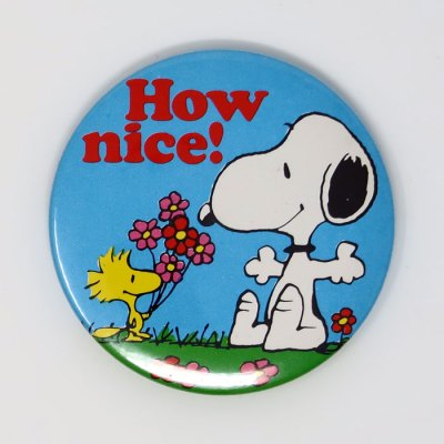 Woodstock giving Snoopy flowers 'How Nice!' Mini Mirror