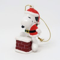 Santa Snoopy in Chimney Ornament