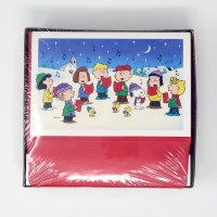 Peanuts Gang Caroling with Glitter Snow Christmas Cards