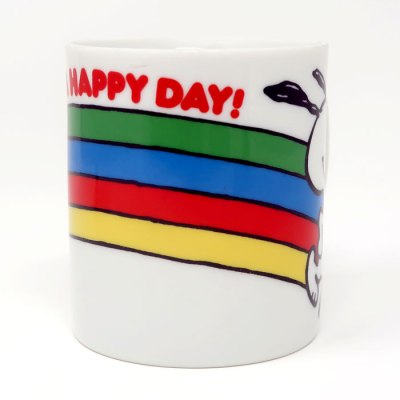 Snoopy Running with Rainbow Mug - Middle
