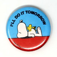 Snoopy & Woodstock on Doghouse Button