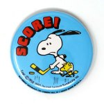 Snoopy & Woodstock Hockey Button