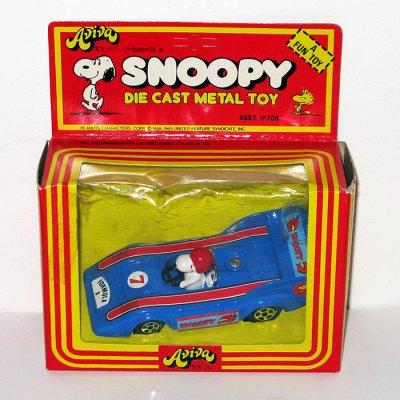 Snoopy in Blue Formula 1 Race Car