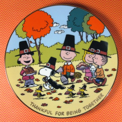 Thankful for Being Together Peanuts Thanksgiving Plate
